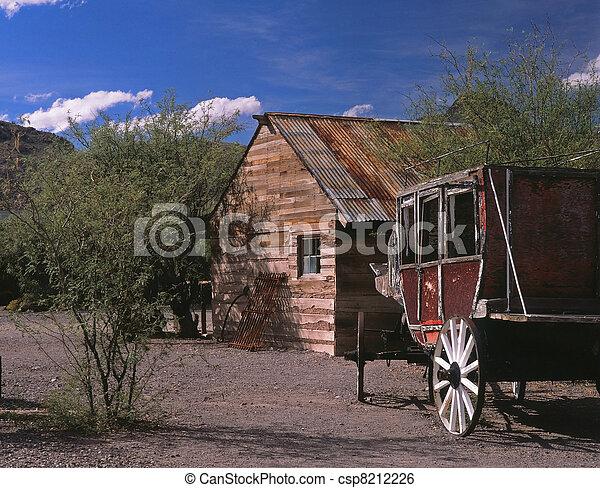 fantasma, pueblo,  stiens, diligencia - csp8212226