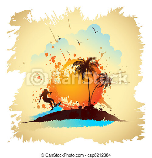 Surfer on Beach - csp8212384