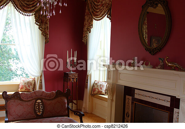interior decoration done in old victorian charm style - csp8212426