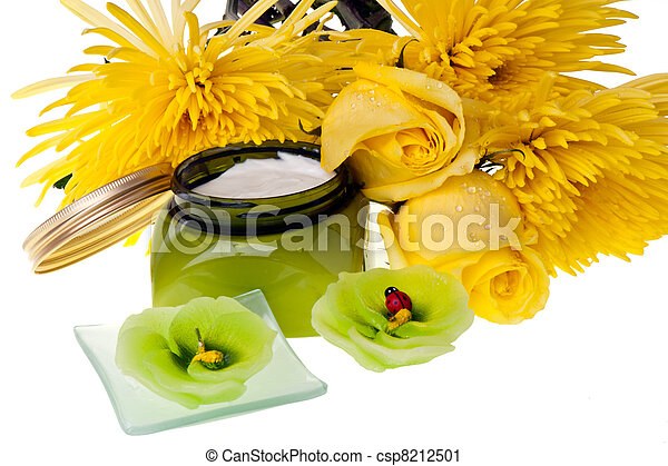 Yellow flowers , candle and body lotion - csp8212501