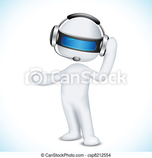 3d Man in Vector in Call Center - csp8212554