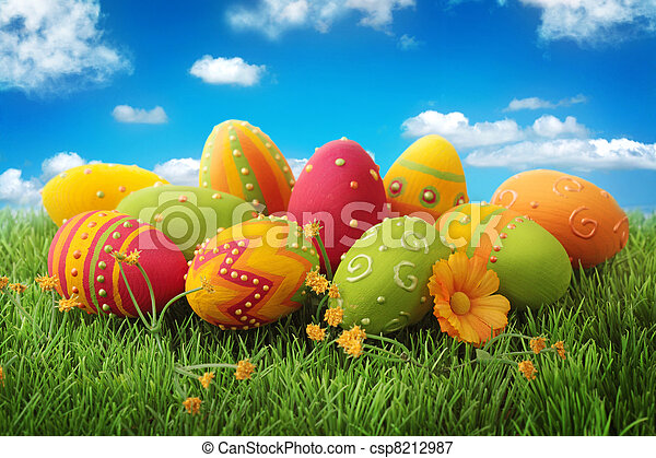 蛋, 復活節, 鮮艷 - csp8212987