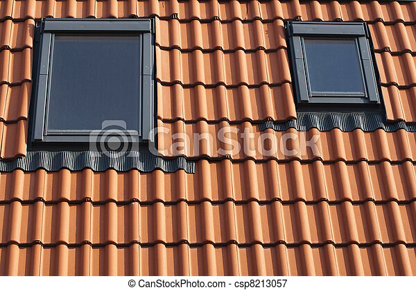 Dormers on a tiled roof - csp8213057