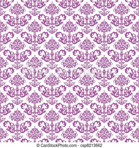 Seamless pink floral wallpaper - csp8213662