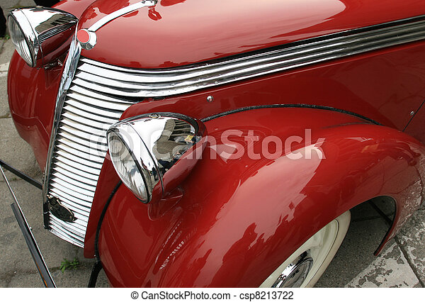 Vintage, shiny, red car. Classic luxury limousine. History of automobile. - csp8213722