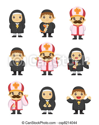 cartoon priest icon - csp8214044
