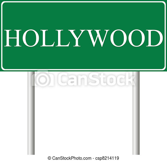 Hollywood green road sign - csp8214119