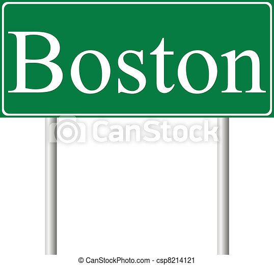 Boston green road sign - csp8214121