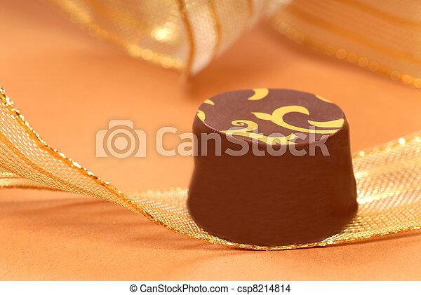 delicious dark chocolate bonbon - csp8214814