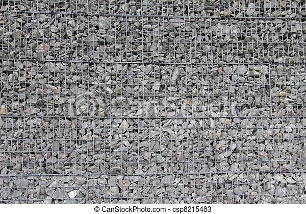 stock fotos von stein wand und metall gitter nett f r hintergrund csp8215483 suchen sie. Black Bedroom Furniture Sets. Home Design Ideas