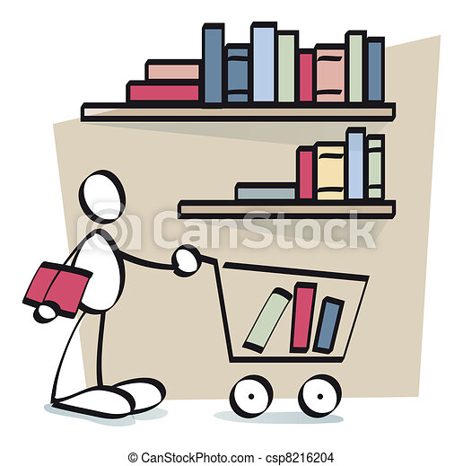 funny guy buying books online - csp8216204