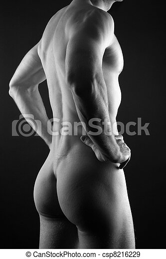 Muscular nude man - csp8216229