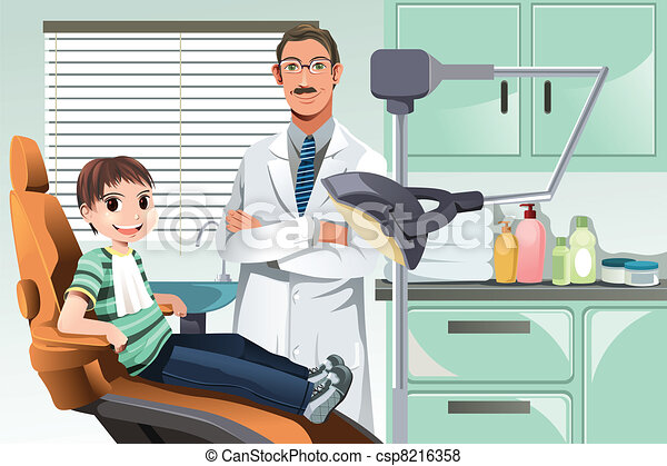 Kid in dentist office - csp8216358