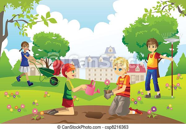 Kids Garden Clipart