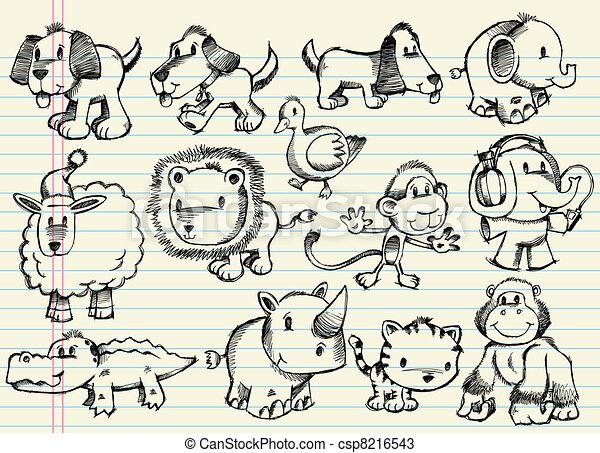 Doodle Sketch Animal Vector Set - csp8216543