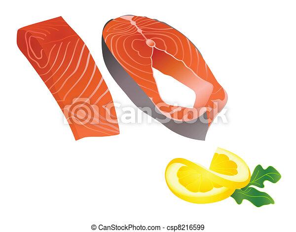 Raw salmon slices - csp8216599