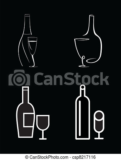Bottle of wine and wine glass - csp8217116