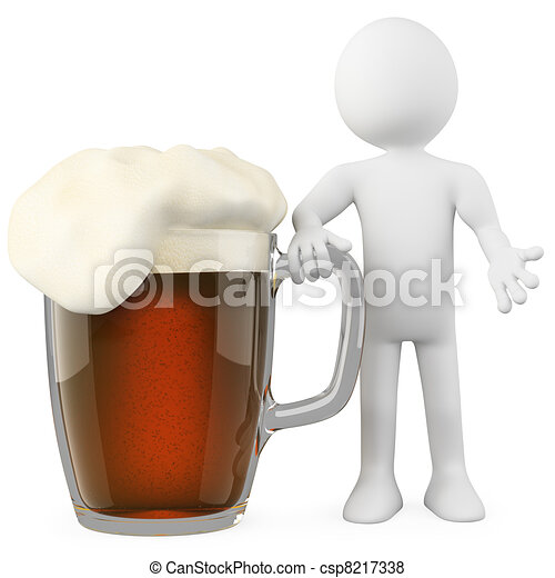 Man leaning on a dark beer - csp8217338
