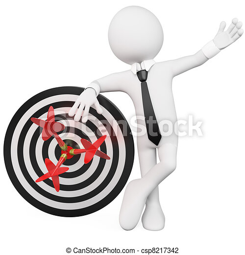 Man leaning on a target - csp8217342