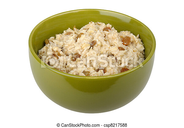 Bowl of oatmeal cereal with raisins - csp8217588