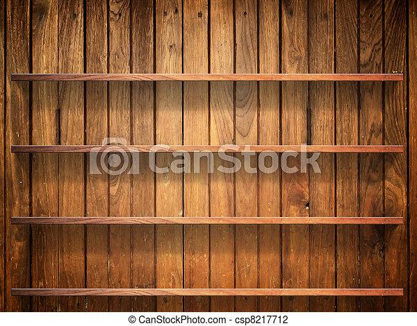 Wood shelf on wood wall - csp8217712