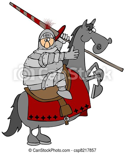 Jouster On A Rearing Horse - csp8217857
