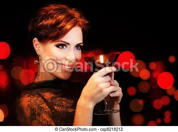 Beautiful female partying, celebrating holiday - csp8218212