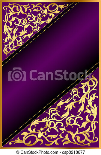 background with gold(en) ornament and violet band - csp8218677
