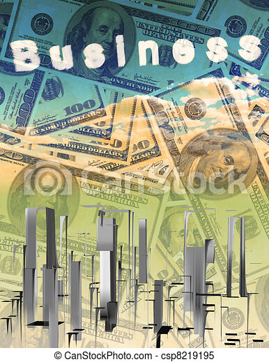 Currency with abstract city - csp8219195