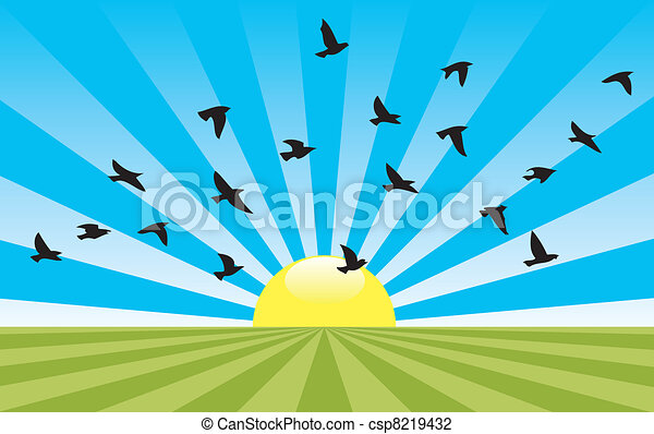 vector abstract rural landscape - csp8219432