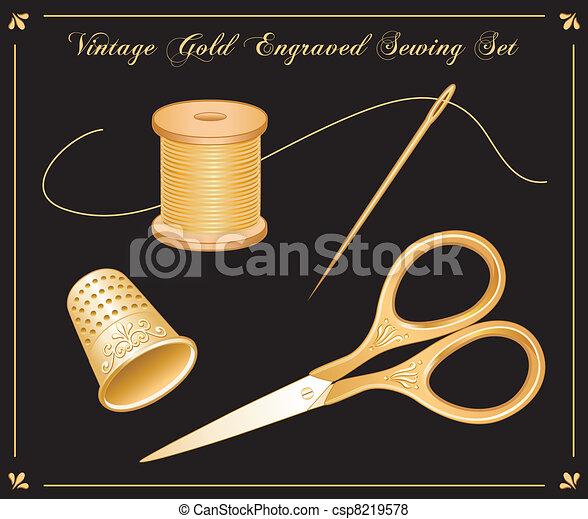 Vintage Gold Engraved Sewing Set - csp8219578
