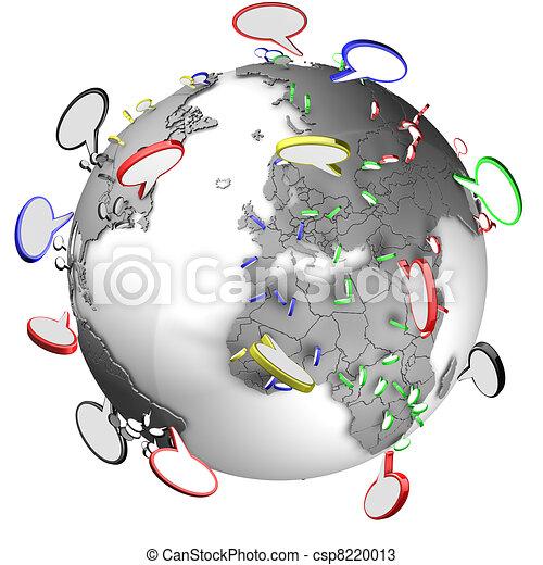 Communication between people using speech bubbles - csp8220013