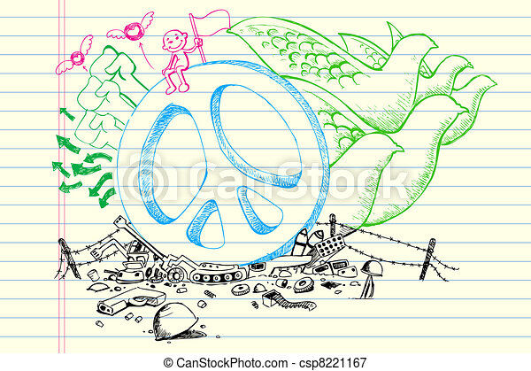 Peace Doodle - csp8221167