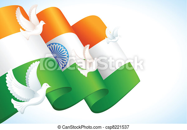 DOve flying on Indian Flag - csp8221537