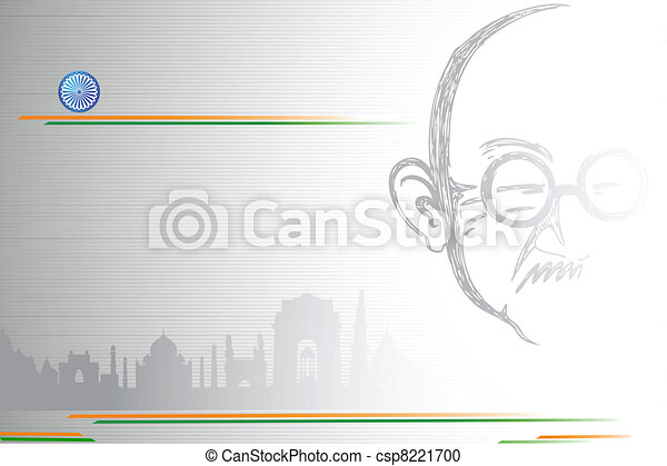 Mahatma Gandhi on Indian City scape - csp8221700