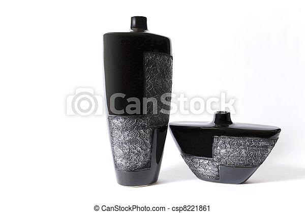 Modern black empty flower vase with ornate metallic pattern - csp8221861
