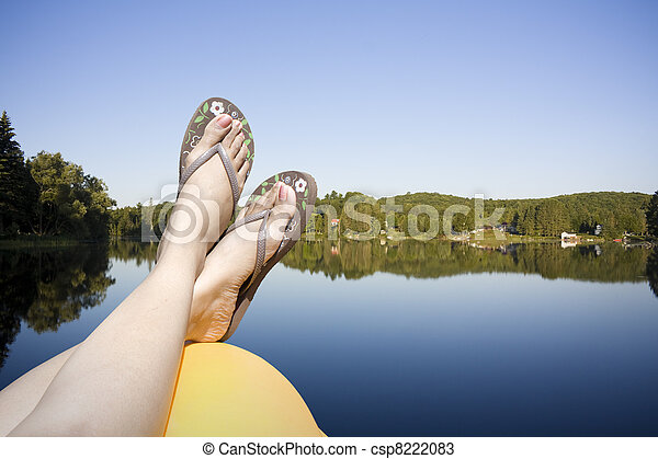 Calm lake water shot in muskoka cottage country ontario - csp8222083