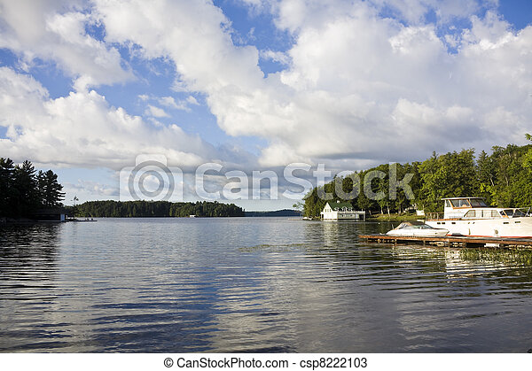 Calm lake water shot in Muskoka, Ontario Cottage Country - csp8222103