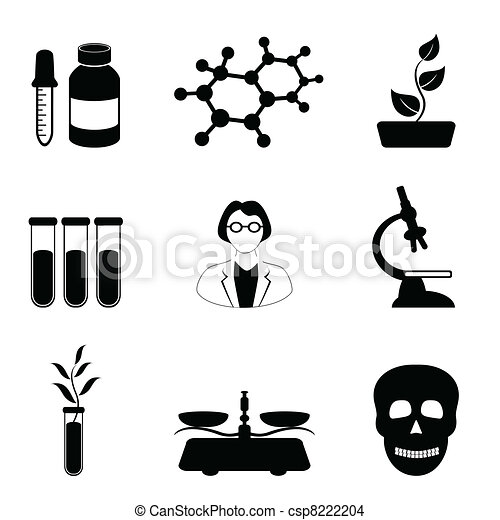 Science, biology and chemistry icon set - csp8222204