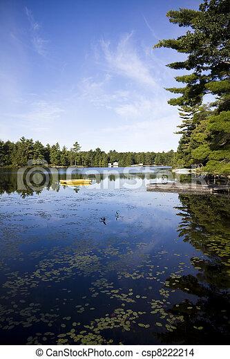 Calm lake water shot in Muskoka, Ontario Cottage Country - csp8222214