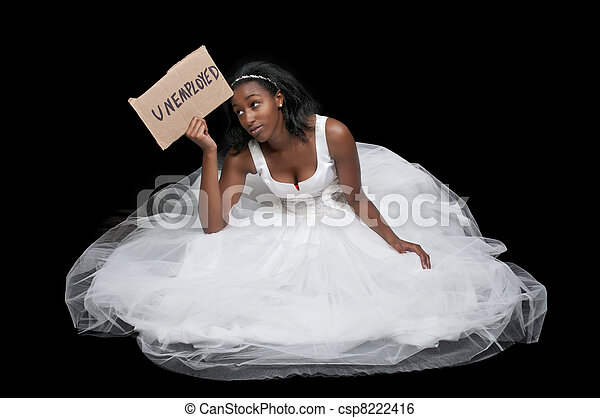 Unemployed Black woman in wedding dress - csp8222416