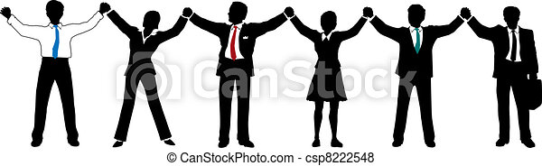 Business people team hold hands up in line - csp8222548