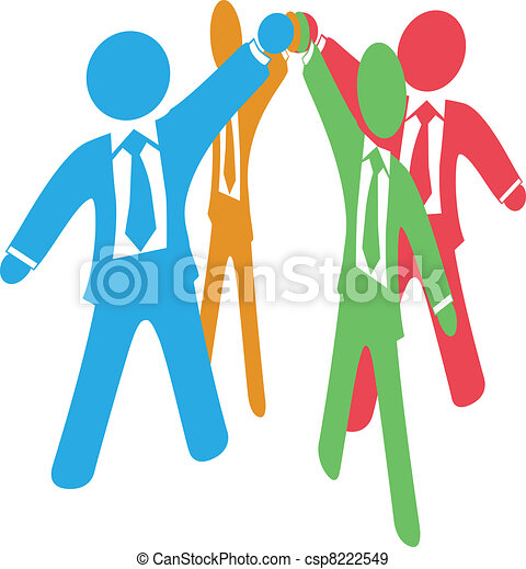 Business people team up work join hands - csp8222549