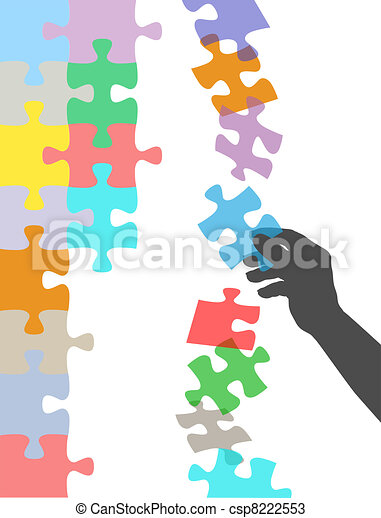 Hand holds piece to solve falling puzzle - csp8222553