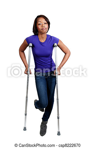 Black Woman on Crutches - csp8222670