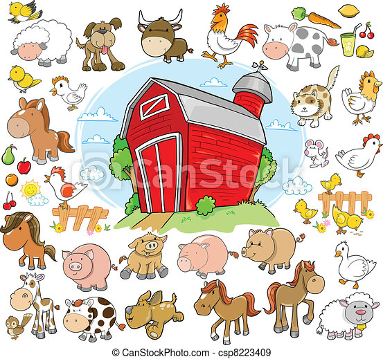 lantgård, djuren, sätta,  design, vektor - csp8223409