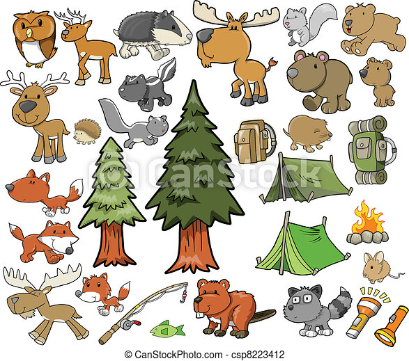 Outdoor Wildlife Camping Vector set - csp8223412