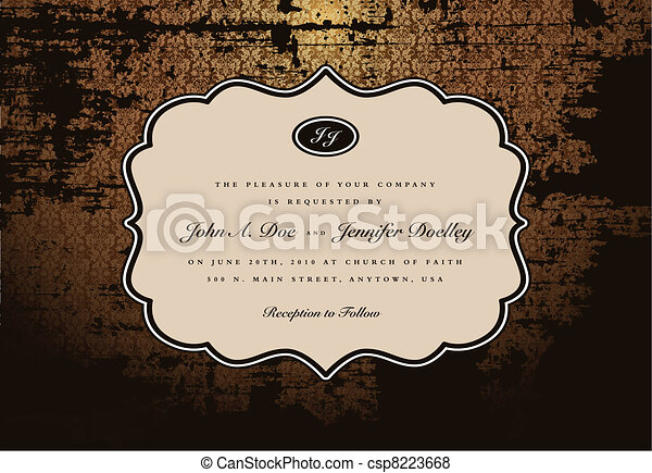 Vector Distressed Background and Ornate Frame - csp8223668