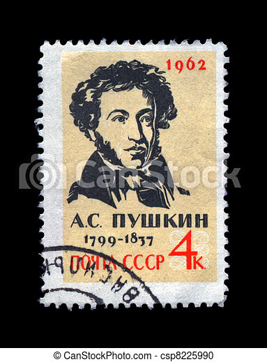 USSR - CIRCA 1962: cancelled stamp printed in the USSR, shows famous russian  poet, writer Alexander Pushkin, circa 1962. vintage post stamp on black background. - csp8225990