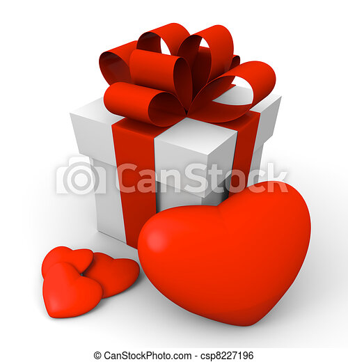 Valentine's Day gift box with red hearts - csp8227196